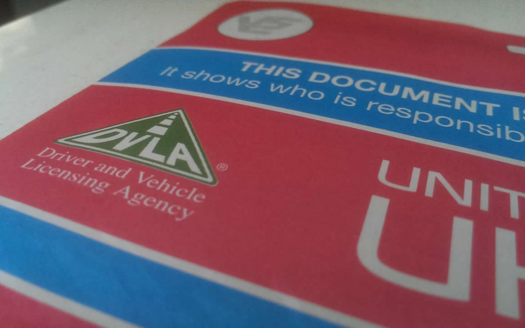 A V5C logbook issued by the DVLA